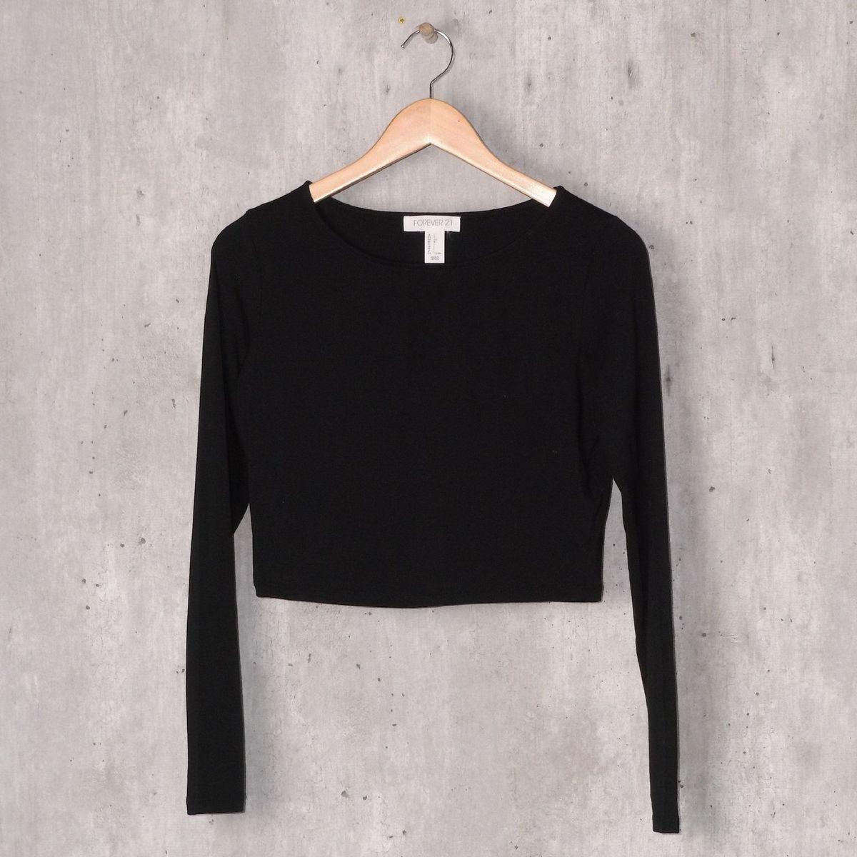 blusa básica preta - blusas forever21