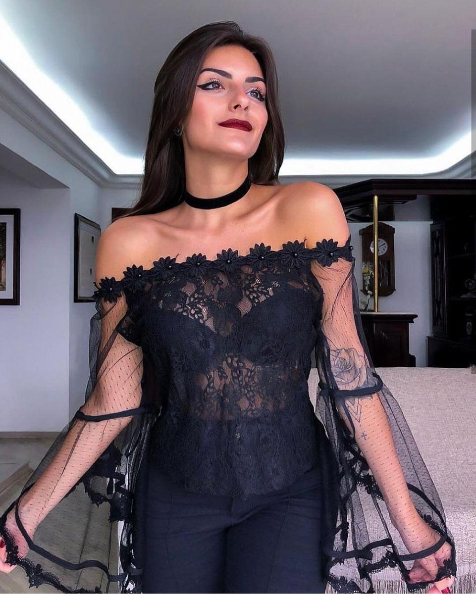 blusa bata preta renda - blusas importado
