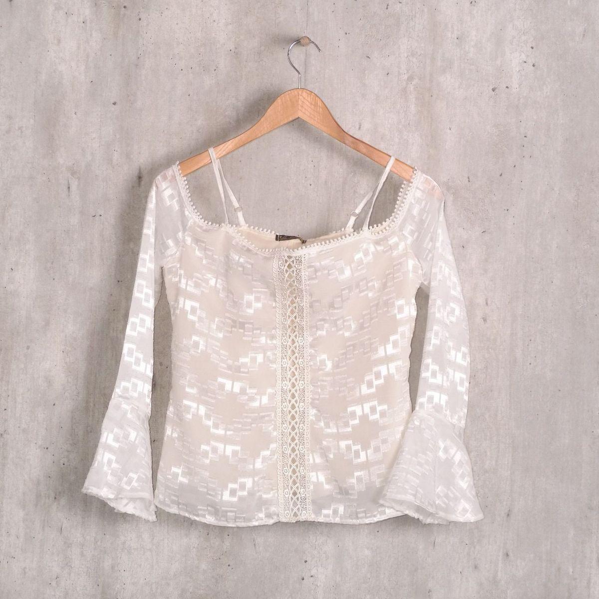 blusa branca bordada manga caida - blusas la gata e9c9f8a7435cc