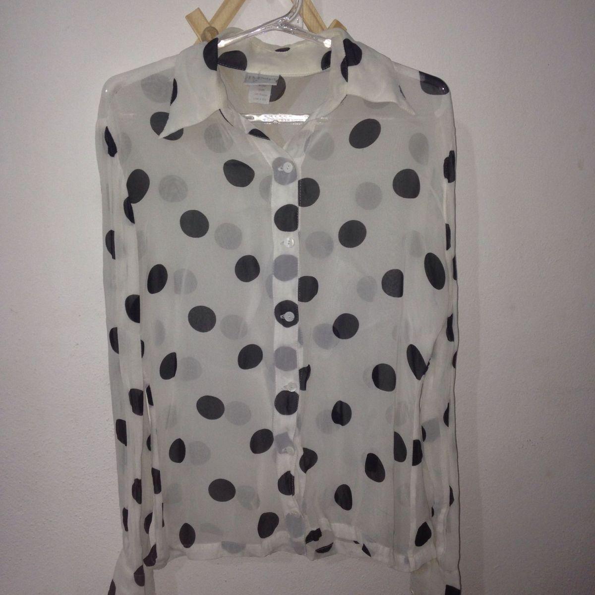 bb441d4ebe Blusa Branca de Bolinha Preta