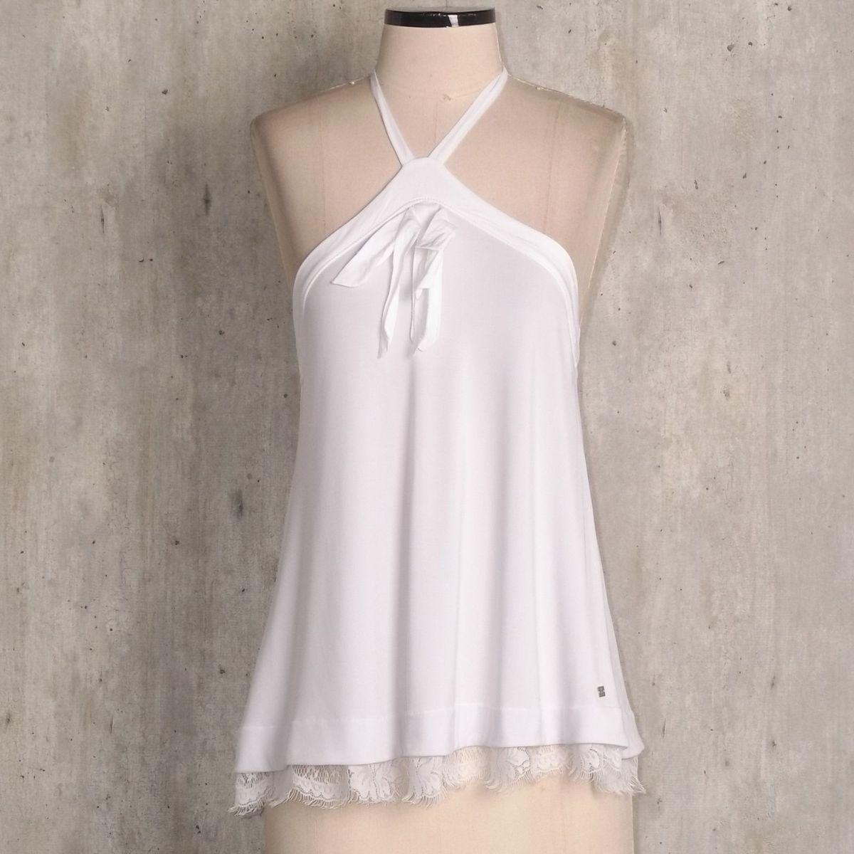7f68ebeb41 Blusa Branca Frente Unica