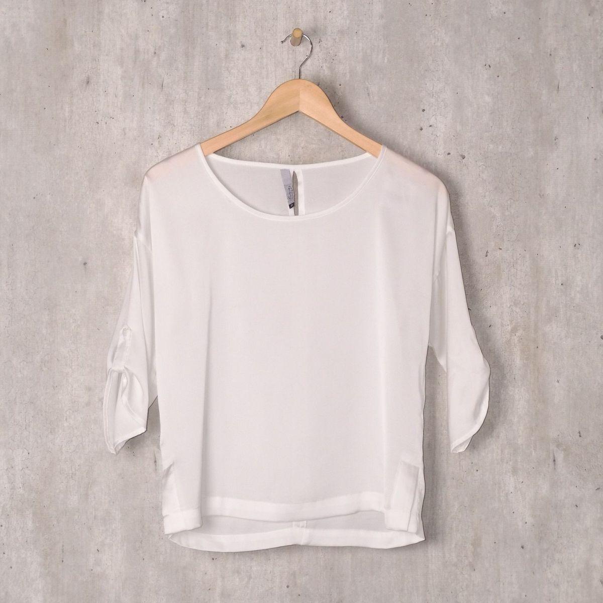 a431267d4 Blusa Branca Manga 3 4