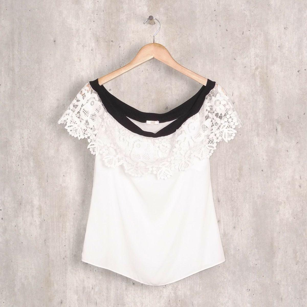 a7a4b2874a blusa branca ombro a ombro detalhe em renda - blusas muse