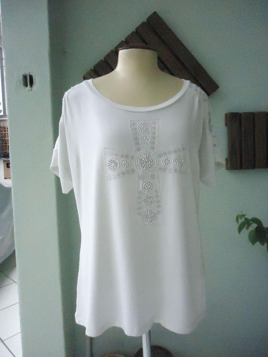 blusa com crucifixo e pedrarias - blusas nao-identificado