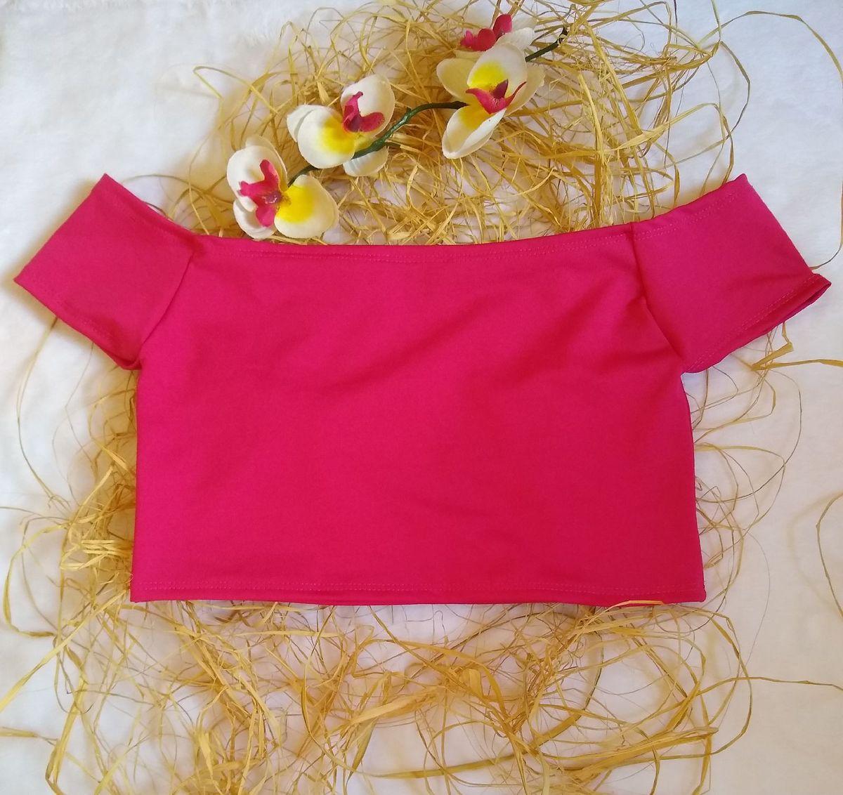 blusa cropped ombro a ombro rosa - blusas sem marca
