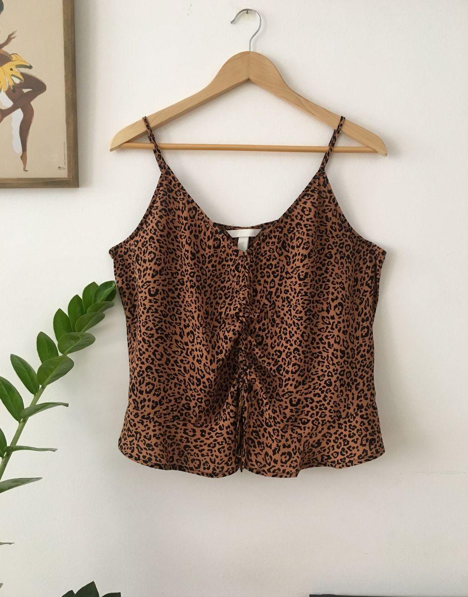 blusa de alças cropped oncinha hm - blusas h&m