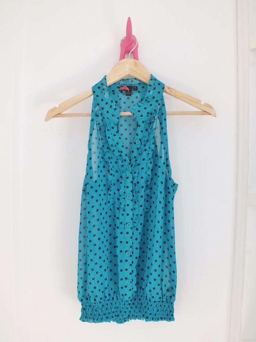 blusa de bolinha vintage - blusas forever 21