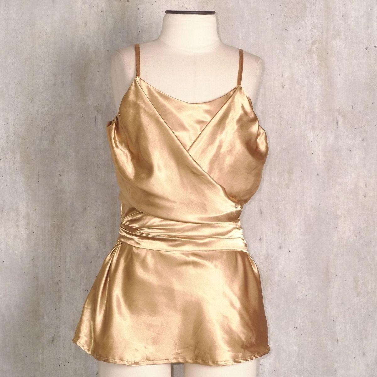 80790a499 Blusa de Cetim Dourada | Blusa Feminina Anne Kanner Usado 31356124 | enjoei