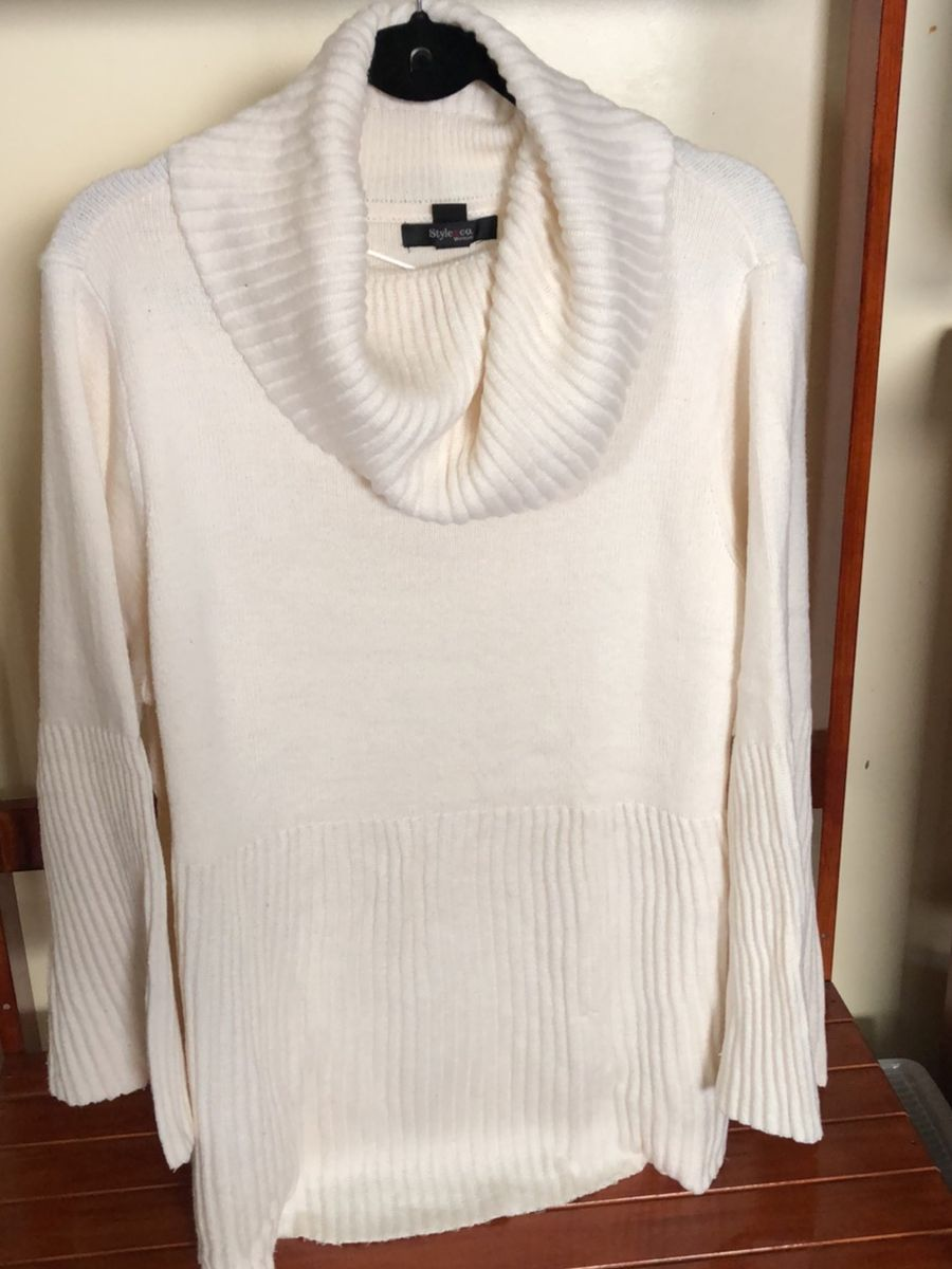 blusa de lã plus size gola e detalhes nos punhos - blusas style & co