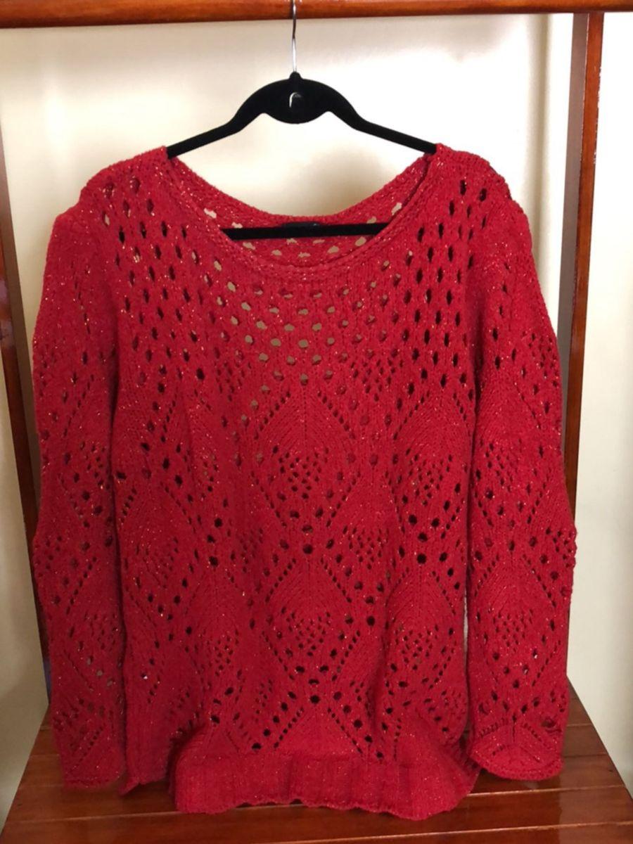 4878f43b10fb blusa de lã plus size vermelha com linha dourada #1011 - blusas program