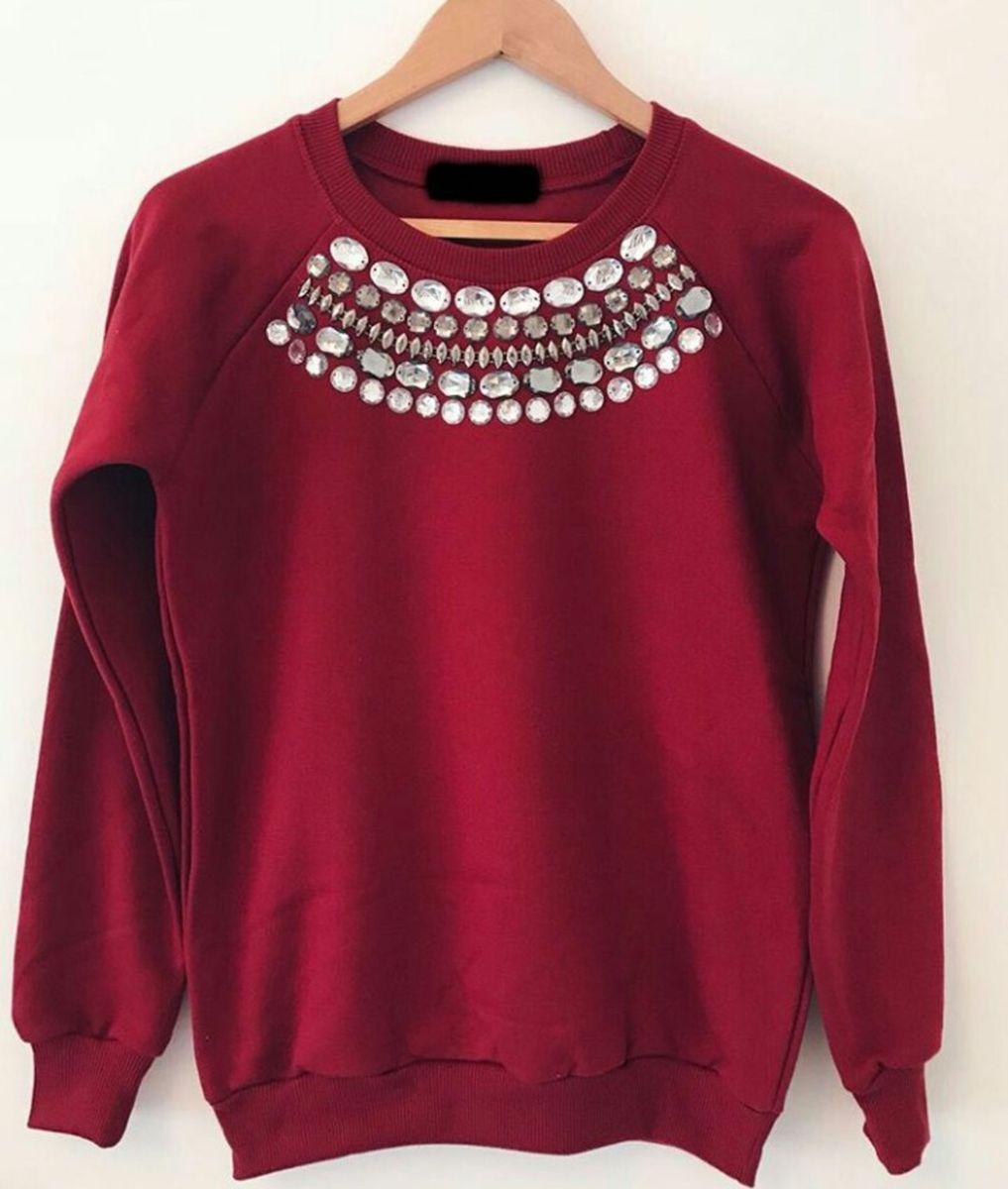 c9cca54d2f blusa de moletom feminino bordado pedrarias - blusas ns store
