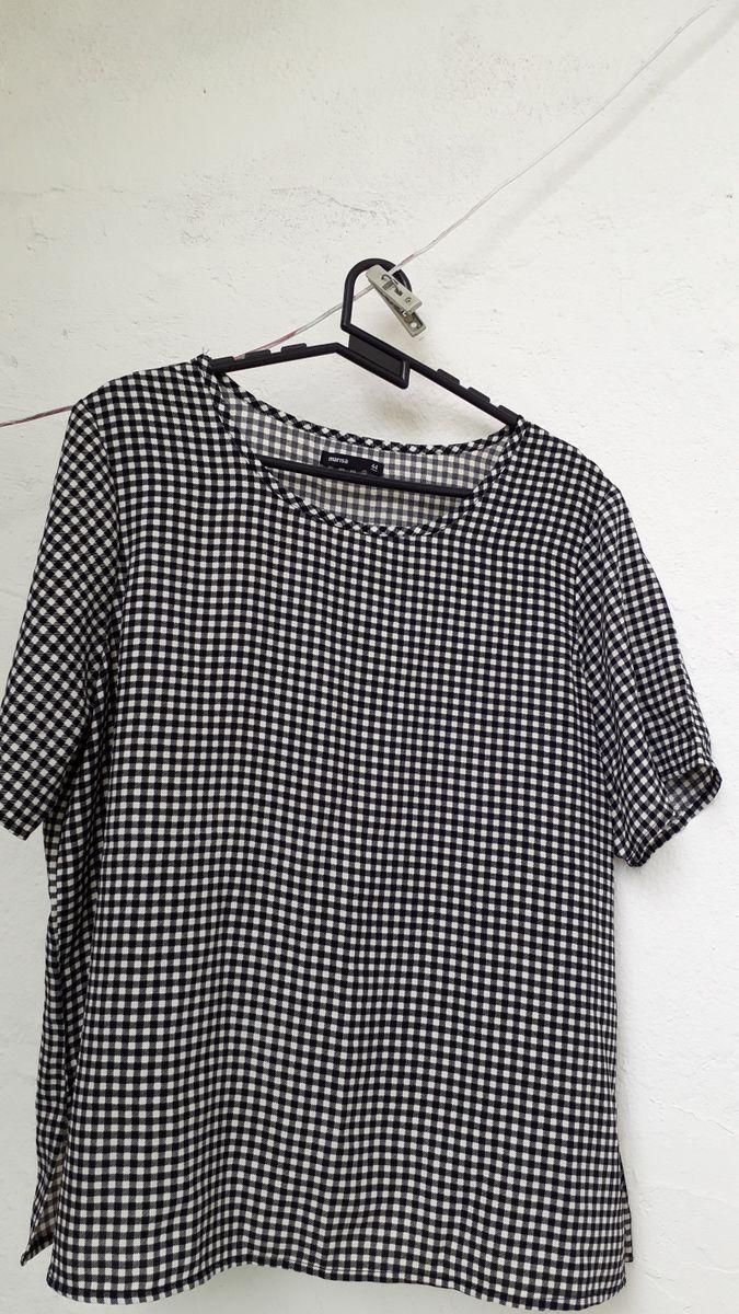 blusa de poliester xadrez - blusas marisa lojas s.a