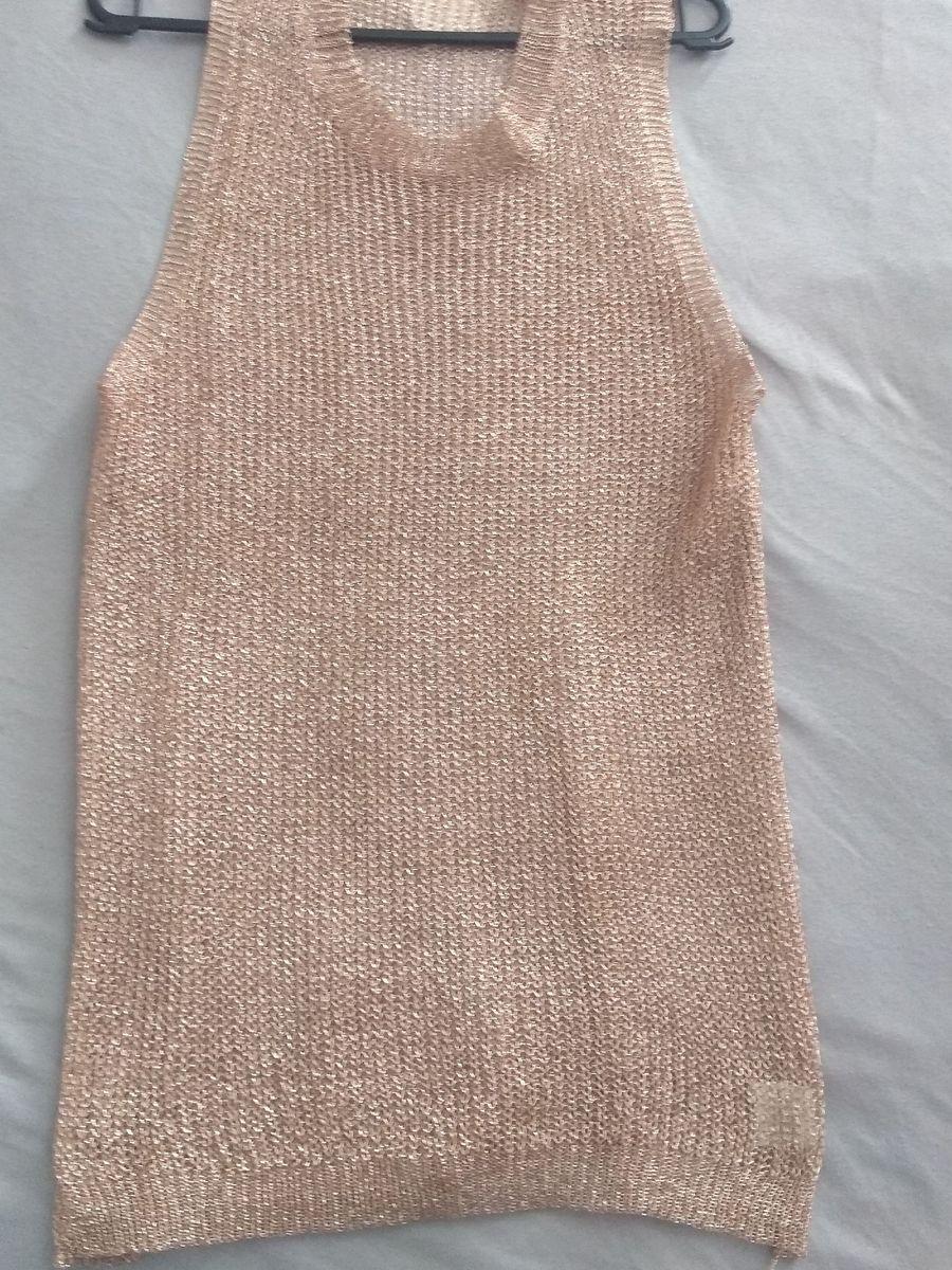 blusa de tricô brilhante rose nova - blusas aqui tem moda