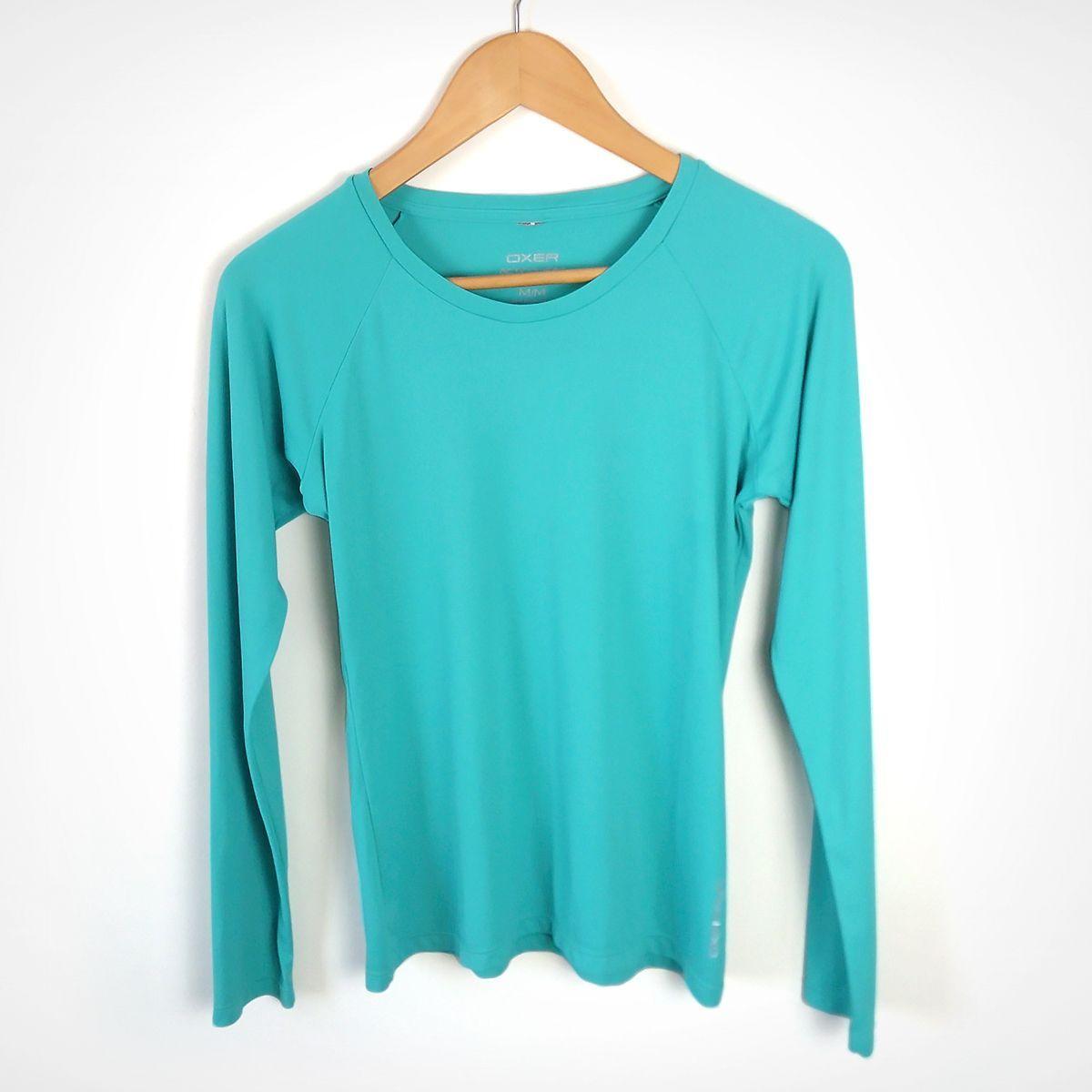 blusa eportiva azul turquesa manga longa fitness caminhada corrida - blusas oxer