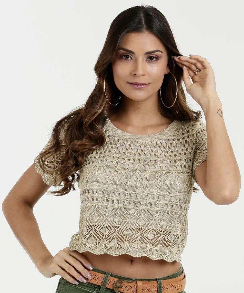 89bc07e6fb blusa feminina cropped tricô lurex marisa - blusas marisa