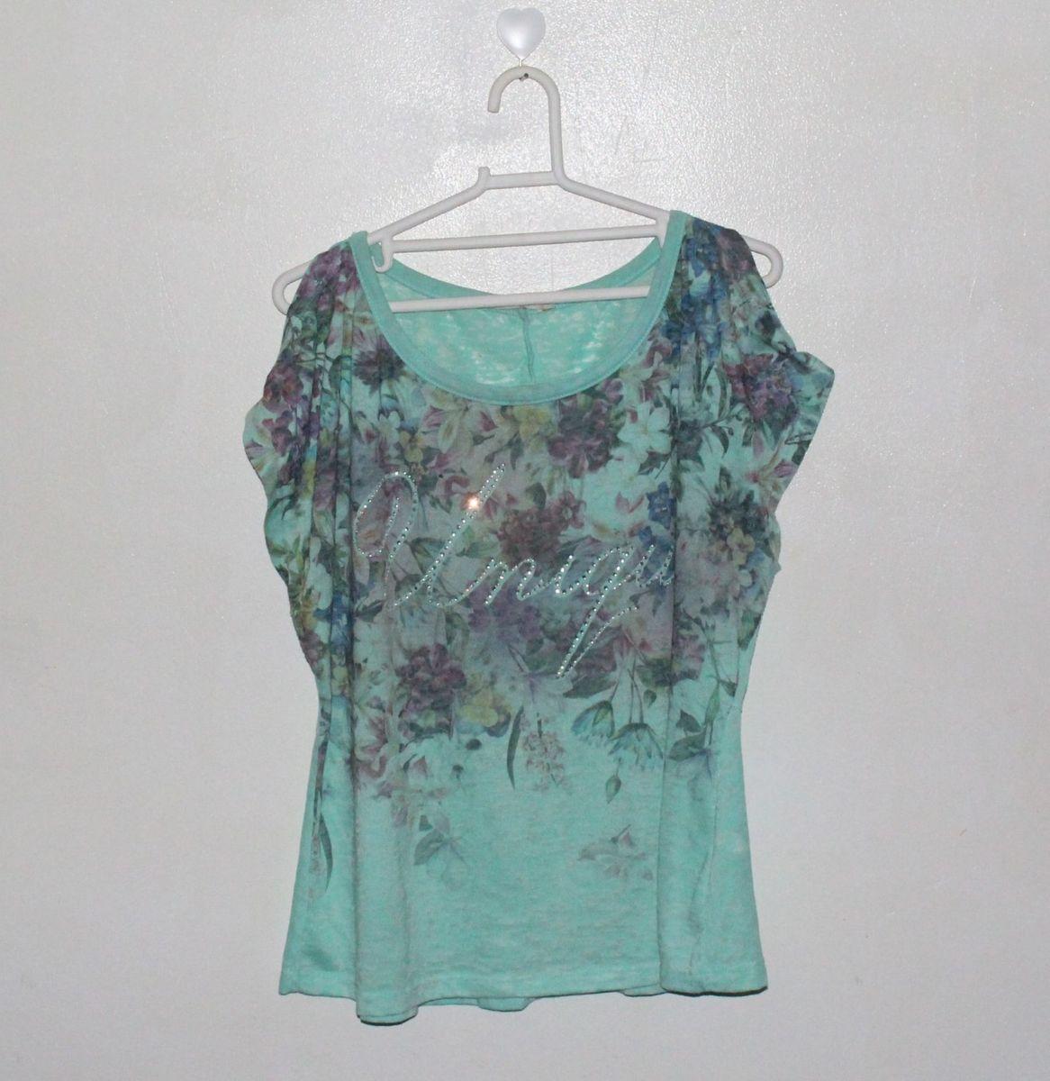 88bc28d716 blusa florida verde água com recorte nos ombros - blusas lisamour
