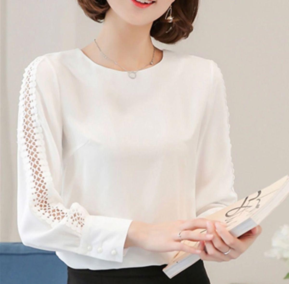 01cb3c34f camisa blusa manga longa executiva com botões branca off white linda chique  - blusas importada