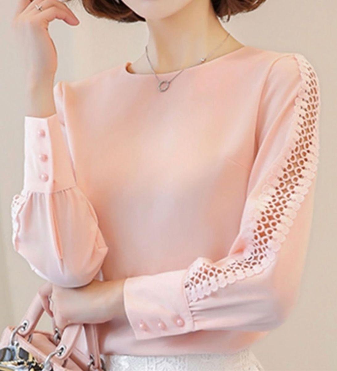 11b739782 camisa blusa manga longa executiva com botões rosa bebe linda chique -  blusas importada