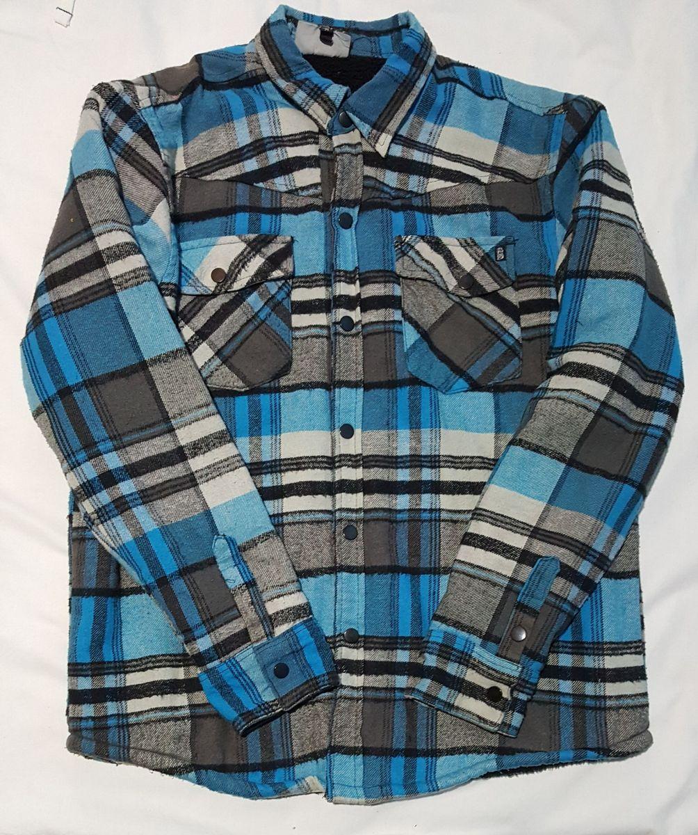blusa masculino casaco de camurça azul - casacos outras