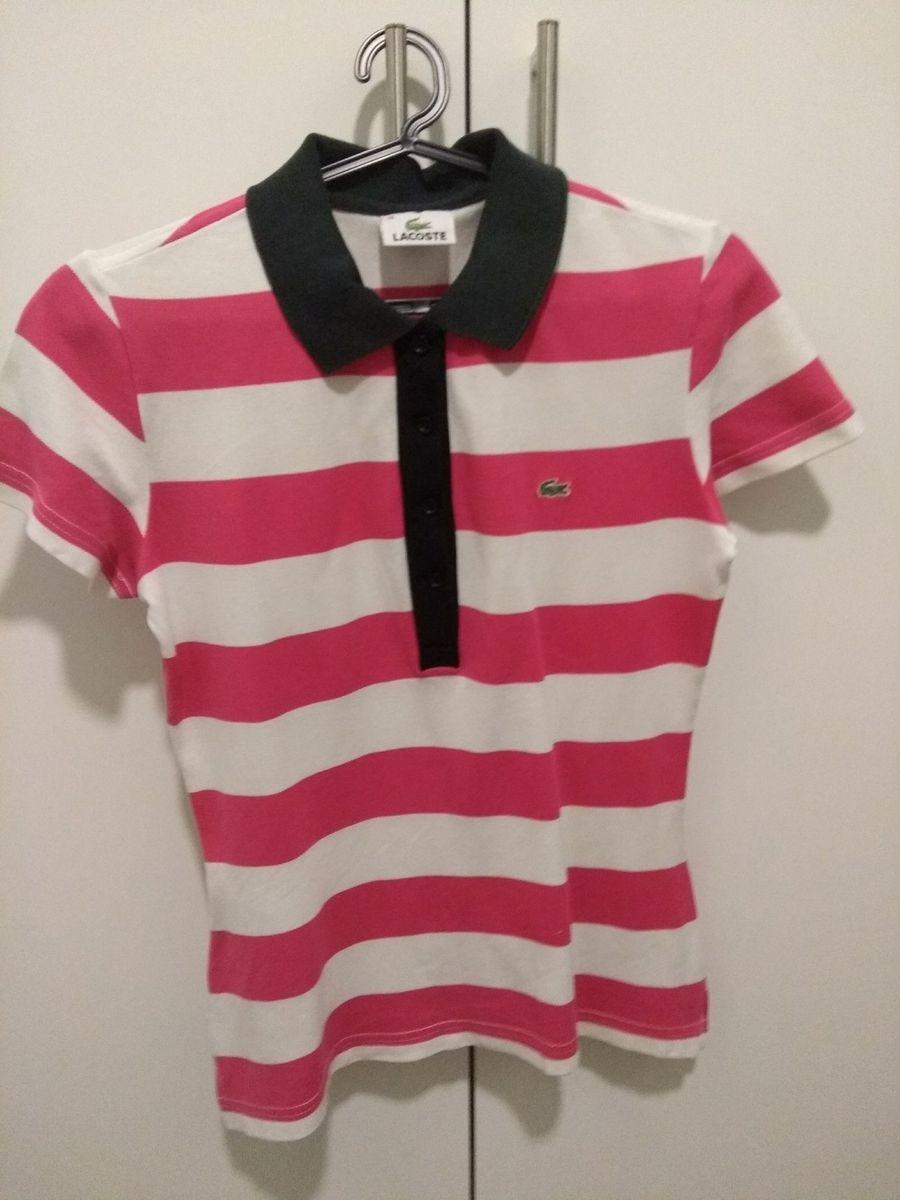 Blusa Polo Lacoste Listrada Tamanho 38   Camisa Feminina Lacoste ... ba98ff45c3
