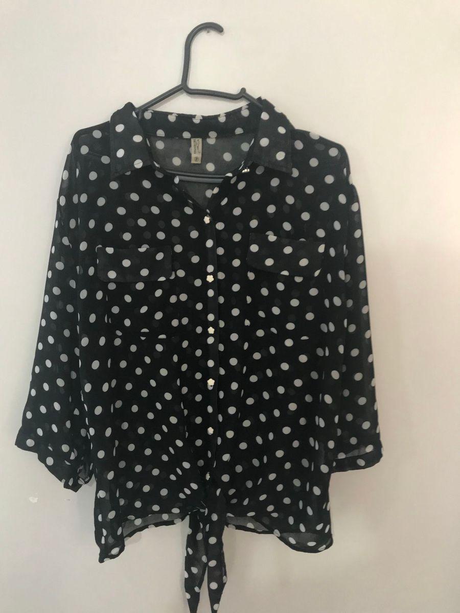579ad68284 blusa preta de bolinhas branca - camisas sem-marca