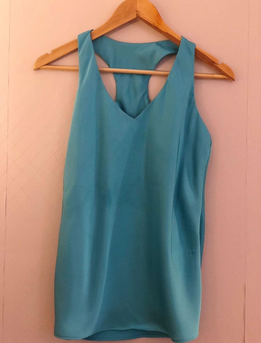 5575236f6f blusa regata nadador cetim azul turquesa - blusas sem marca