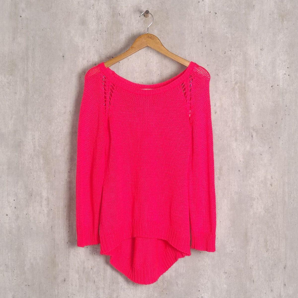 blusa rosa neon tricô em trama aberta zara - casaquinhos zara