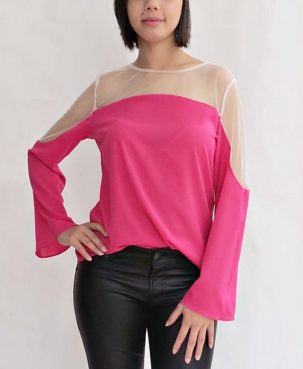 blusa tule pink - blusas griffteria-boutique