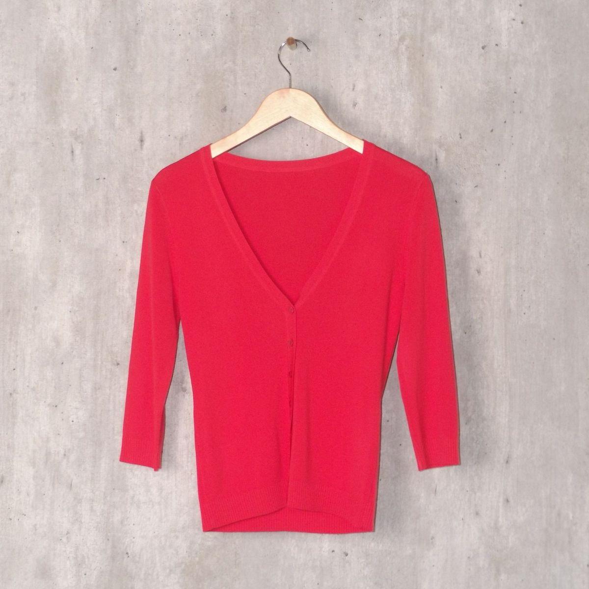 f2e539fd8 Blusa Vermelha Canelada Manga Longa | Blusa Feminina Usado 30390525 ...
