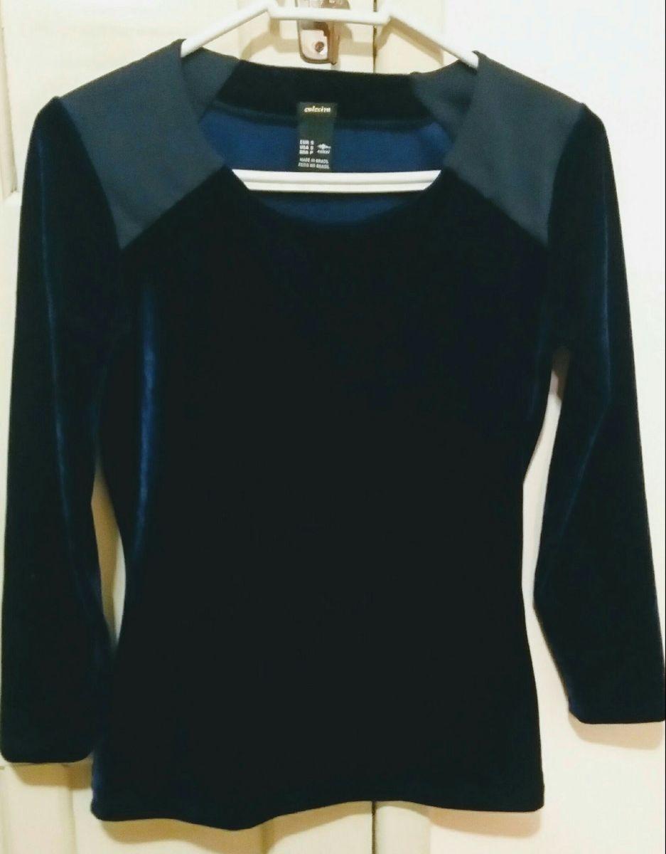 c1114c1d6 Blusinha Colcci Veludo Azul Marinho | Blusa Feminina Colcci Usado ...