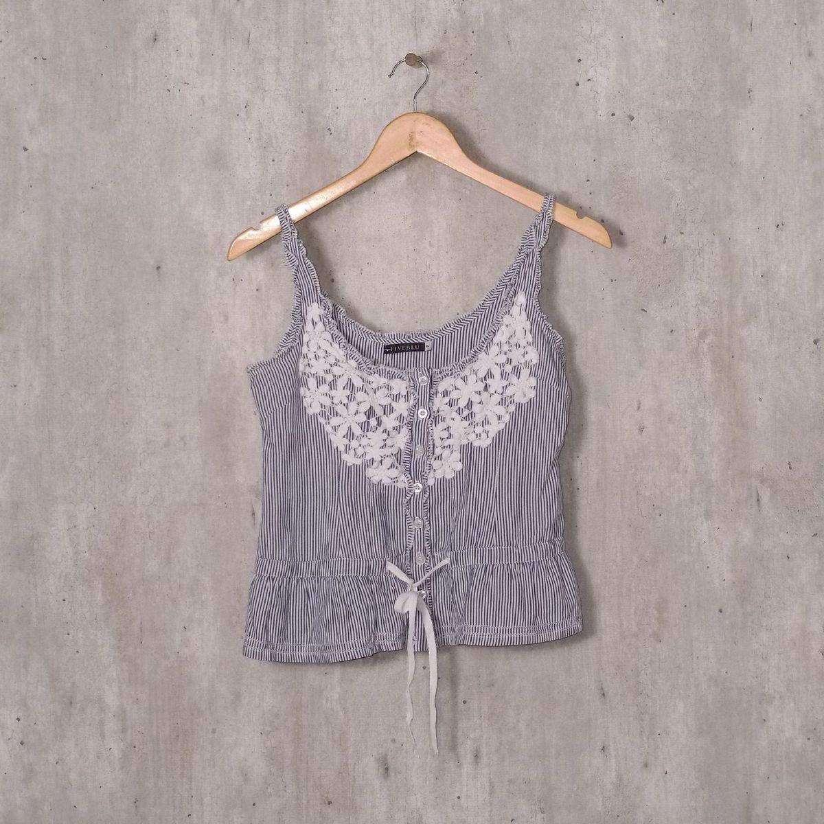 blusinha com listras e renda - blusas fiveblu