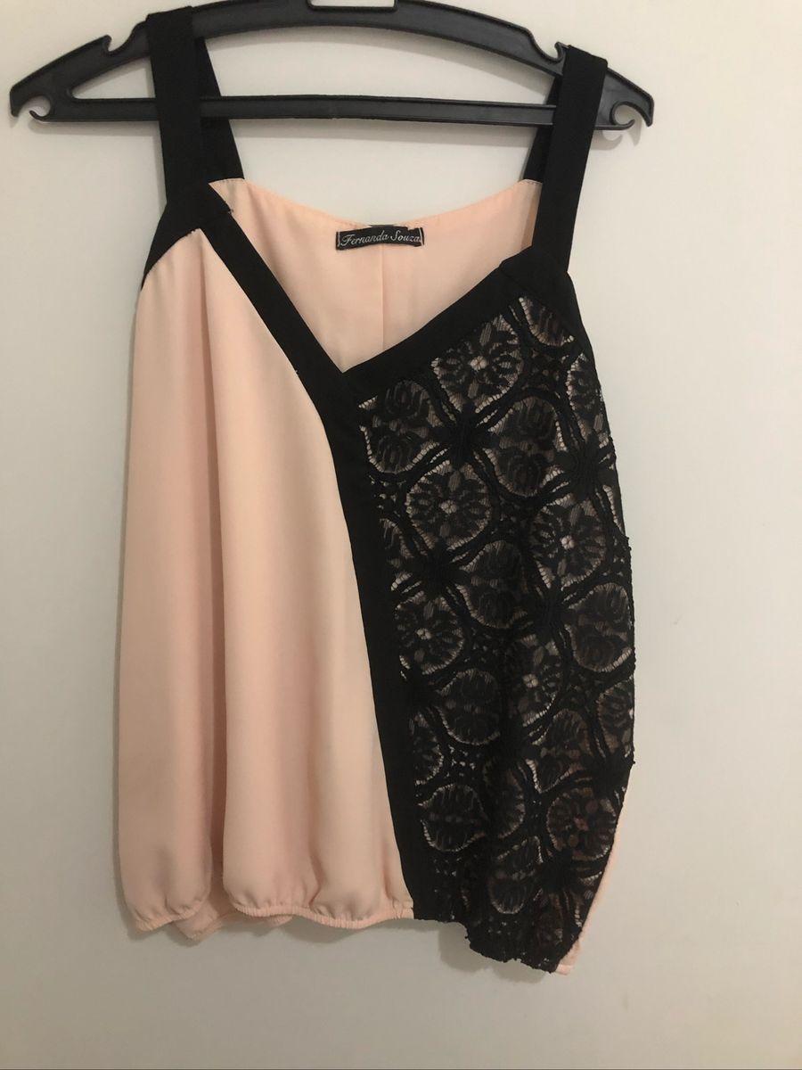 e396fc77f blusinha plus size verão rosa amp renda rose black - blusas fernanda-souza