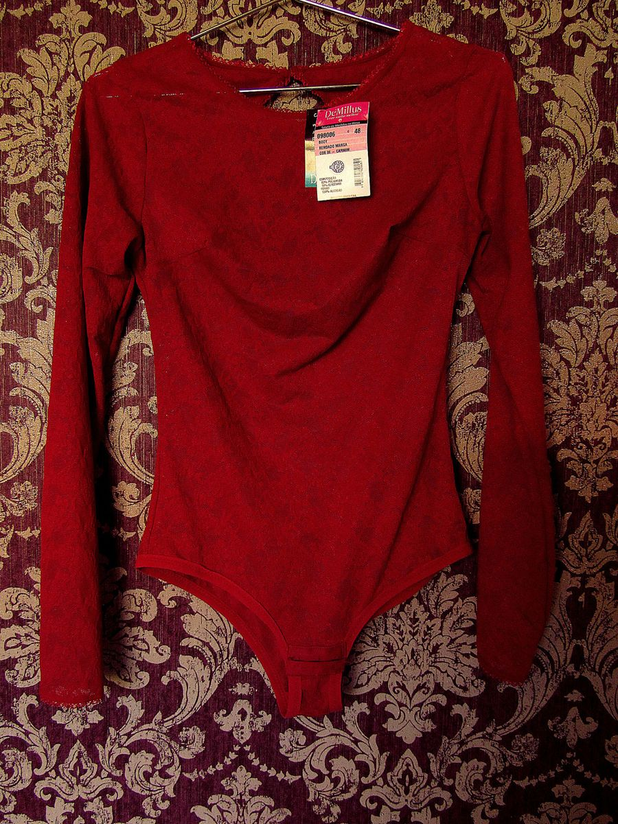 7ad5d33fa body rendado de manga comprida da cor carmim - lingerie demillus