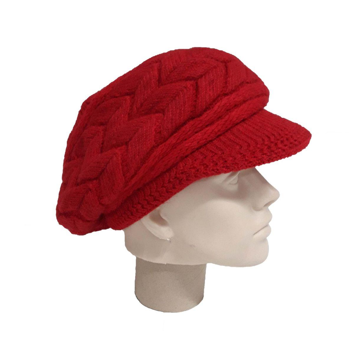 boina gorro lã feminina touca trança tricô aba beanie 48 cm - chapeu  importado 8b709f3ac13