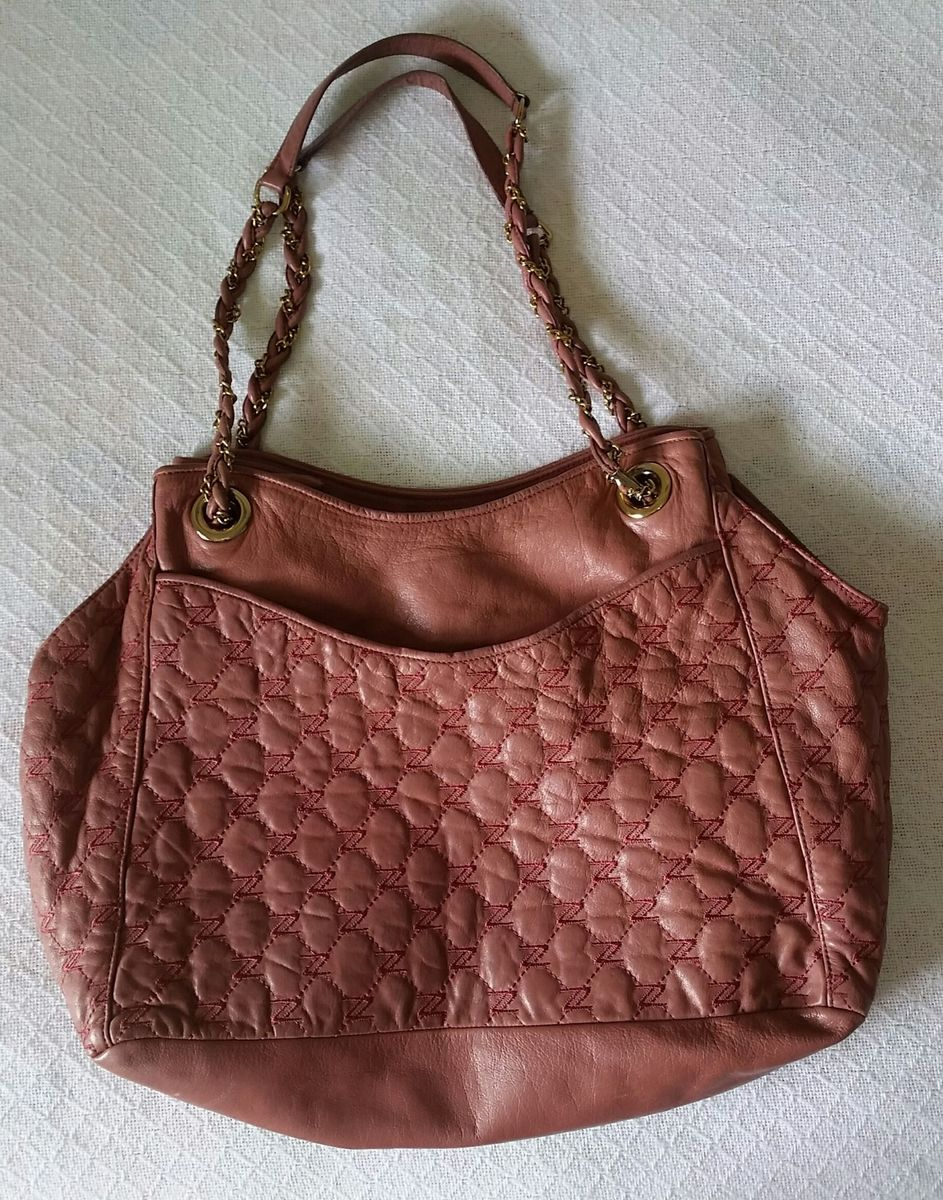 9f1ca64ca1049 bolsa arezzo couro rosa com dourado - ombro arezzo