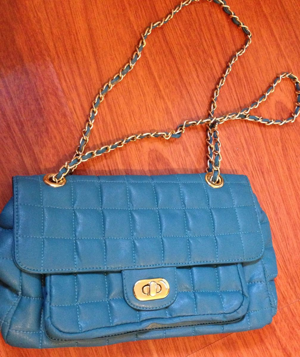 feeac8d55d6 bolsa azul turquesa corrente dourada - ombro sem marca