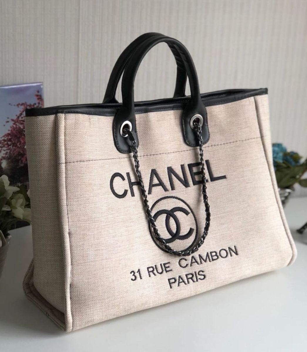b401efcd6dc6c0 Bolsa Chanel Deauville Faminino Lona Importado | Bolsa de Ombro ...