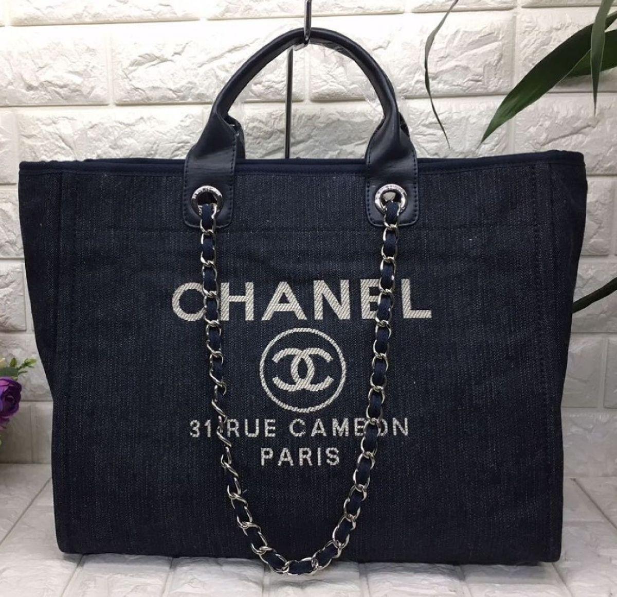 063f4617c89455 bolsa chanel deauville tote canvas azul pronta entrega - bolsas chanel