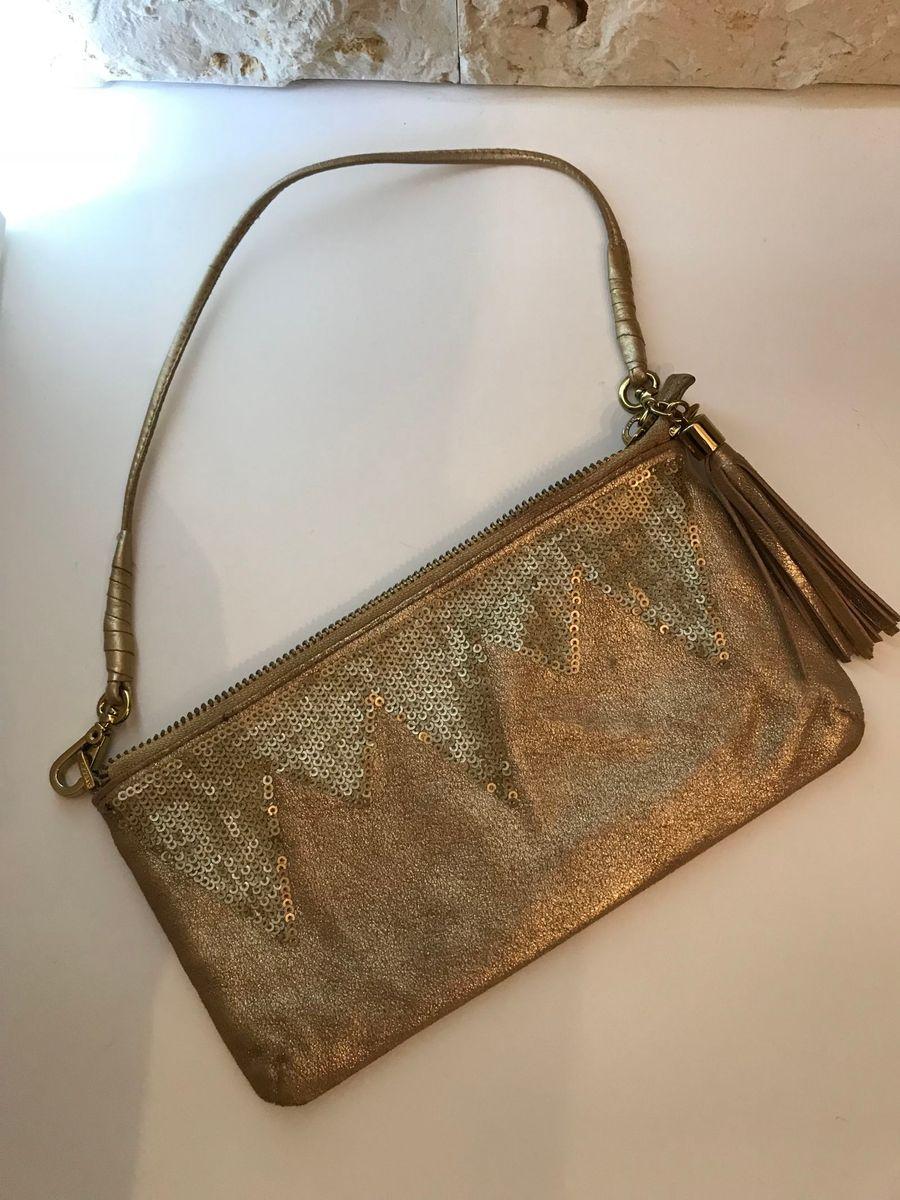 eda61beae bolsa dourada de festa, com bordado em lantejoula, arezzo - ombro arezzo