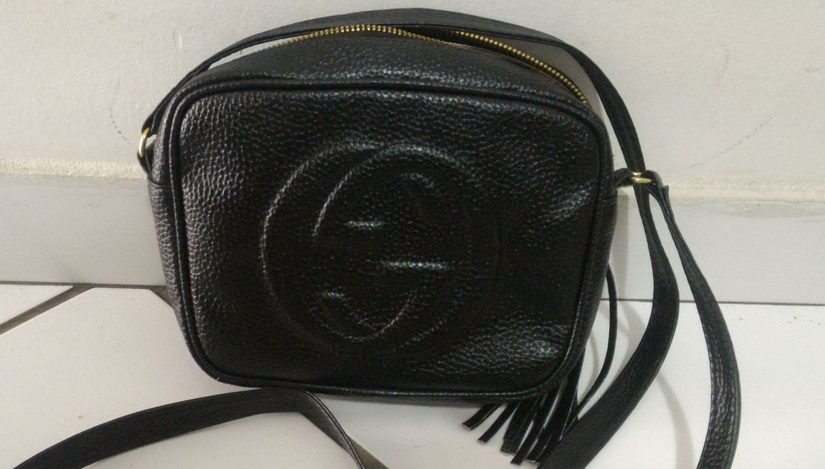 Bolsa Feminina de Ombro Pequena Estilo Gucci Soho   Bolsa de Ombro ... 6f70532afe
