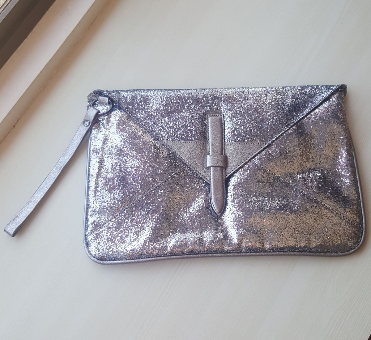 bolsa glitter prata maria filó - clutches maria-filo