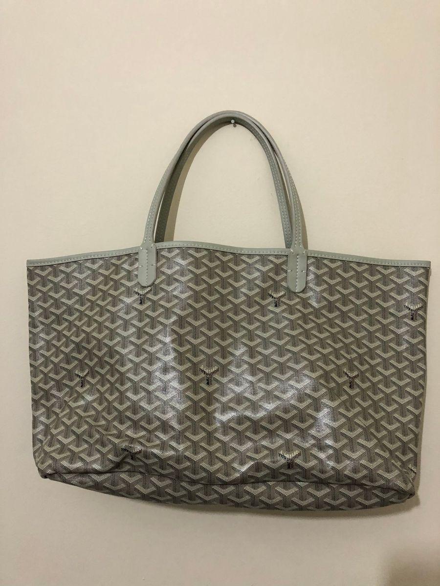 b2af4630a bolsa goyard tamanho médio cor prata cinza com bolsinha carteira -  carteiras goyard preta cinza com
