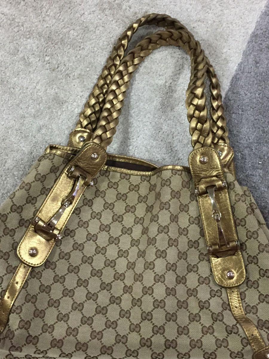 ceee5e249 bolsa gucci monogram canvas gg logo brown braided medium pelham shoulder  bag purse - ombro gucci