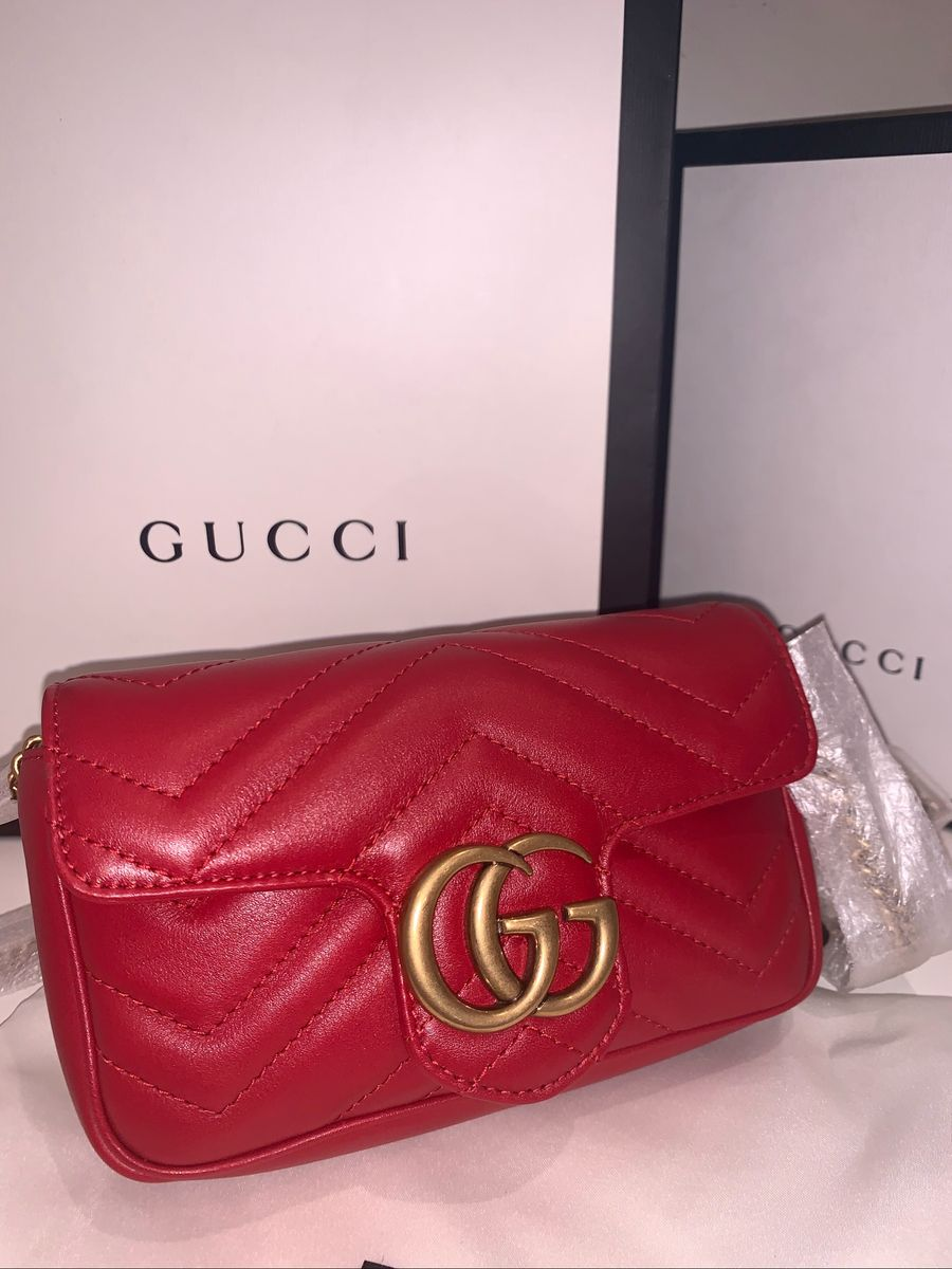 2f79c61e7 Bolsa Gucci Marmont Mini Vermelha Original | Bolsa Masculina Gucci ...