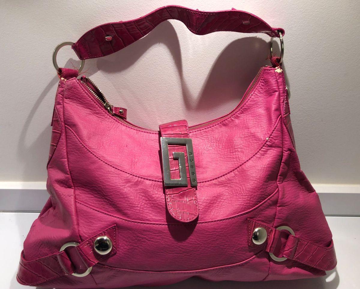 93a4feb5a Bolsa Guess - Original, Rosa Pink, Tamanho Médio/grande   Bolsa de ...