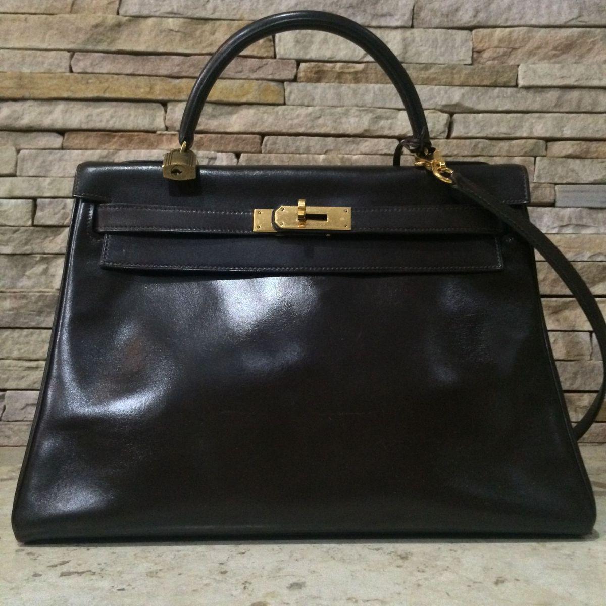 62756517ec1 Bolsa Hermes Kelly 32 Chocolate Gold Original