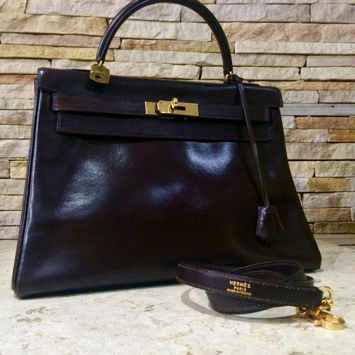 38b2633577a Bolsa Kelly Hermes Original Tamanho 32 Chocolate