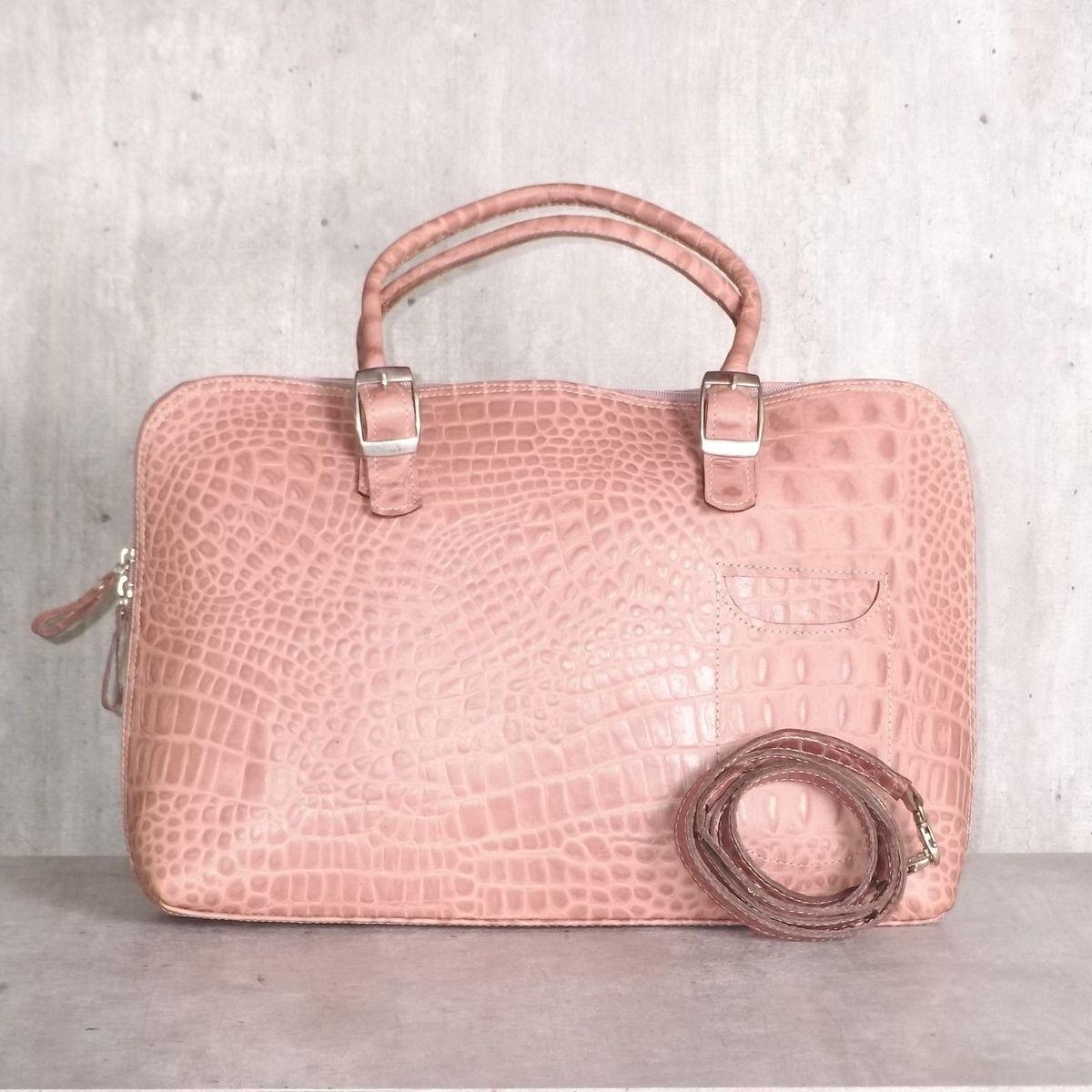 57f5ae24ba1 bolsa pasta rose piton texturizada - de mão smart bag