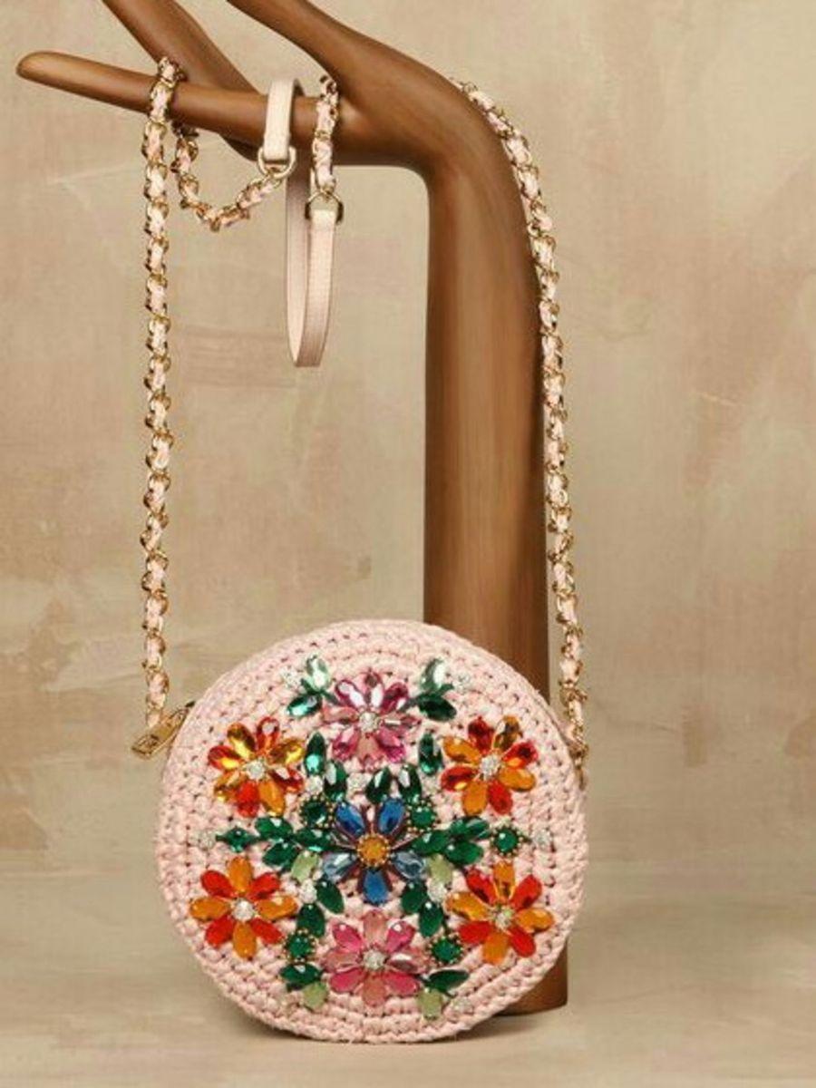 551861000 Bolsa Redonda Crochê Bordada | Clutch Feminina Love Boho Shop Nunca ...