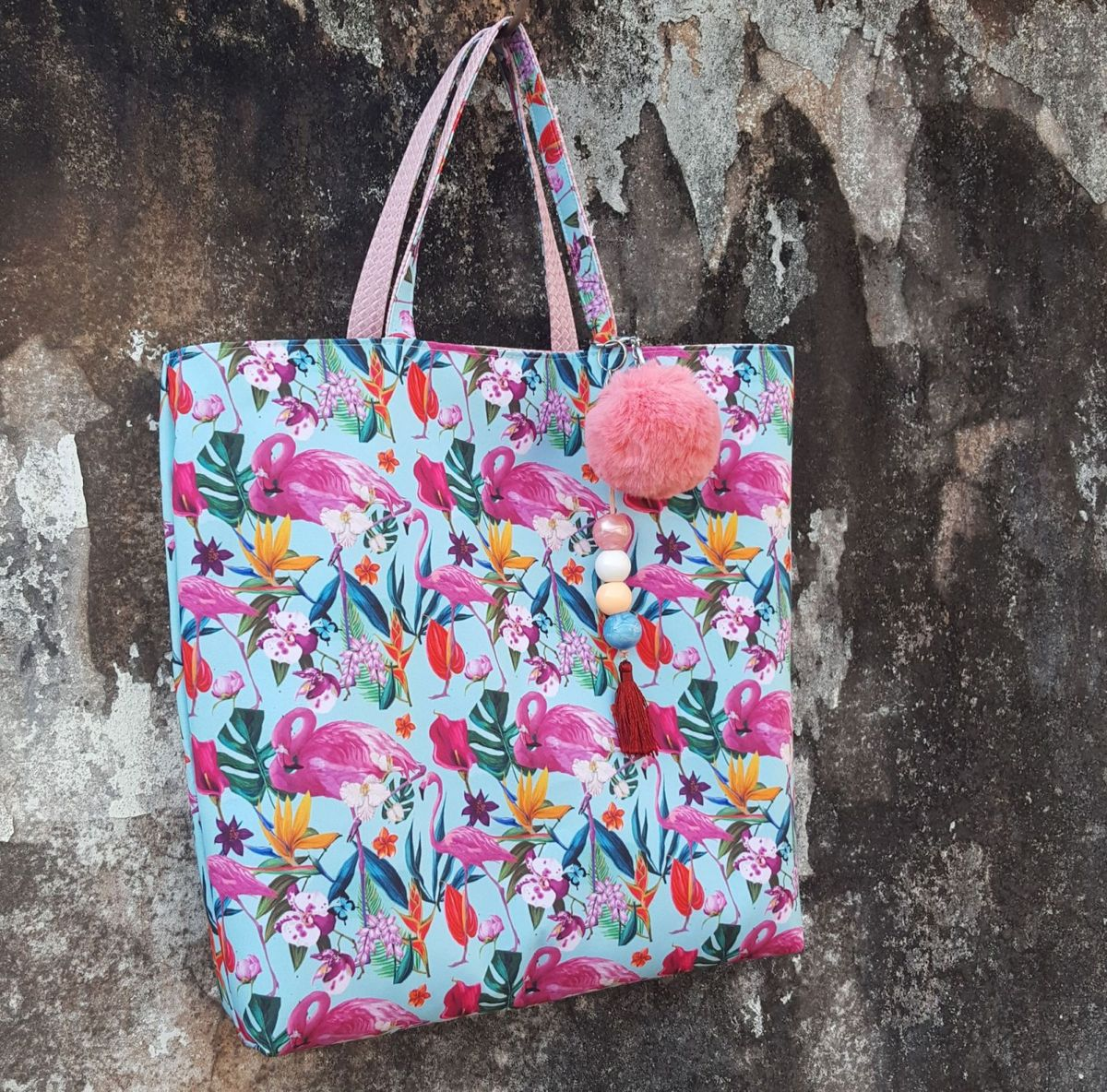 9b5fc708b Bolsa Sacola Praia Flamingos Dupla Face | Bolsa de Ombro Feminina ...